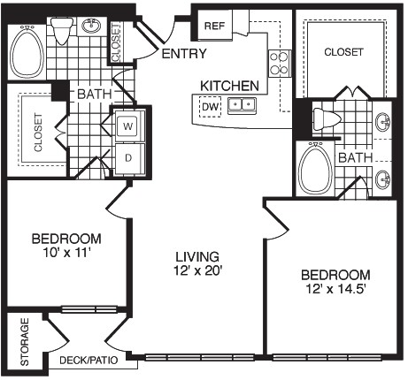 1,100 sq. ft. Good Heart/Flat floor plan