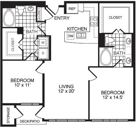 1,100 sq. ft. F2B floor plan