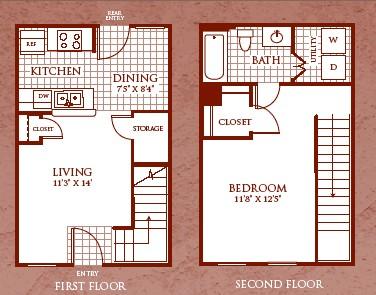 653 sq. ft. A1/60 floor plan