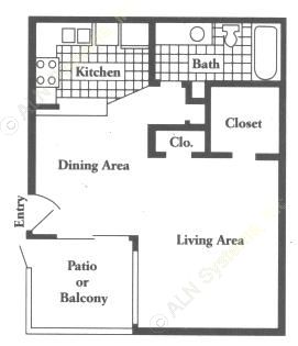 520 sq. ft. EFF floor plan
