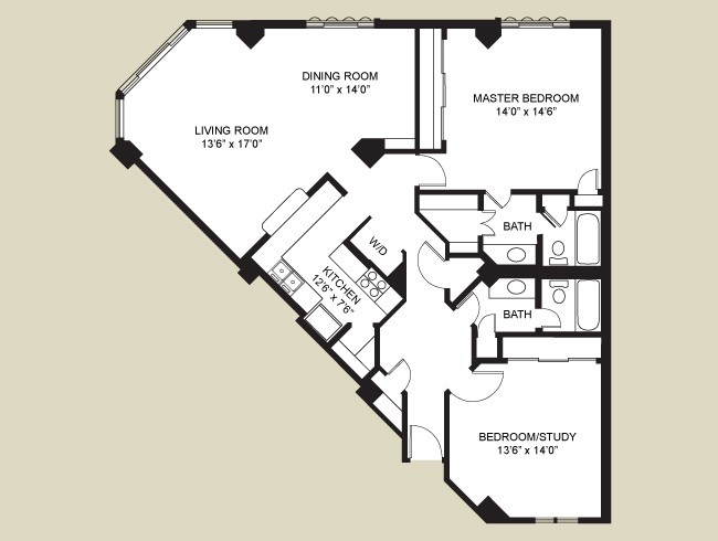 1,305 sq. ft. Merriman floor plan