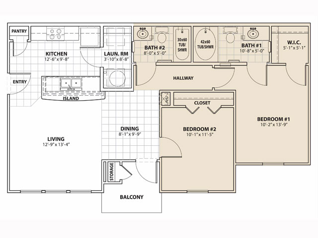 896 sq. ft. 60% floor plan
