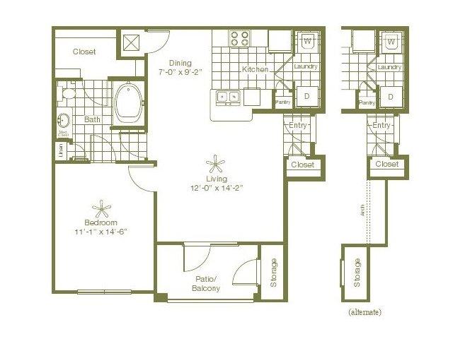 772 sq. ft. Lansing floor plan