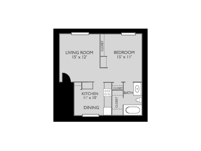 581 sq. ft. Magnolia floor plan