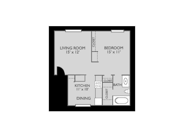 581 sq. ft. Magnolia floor plan