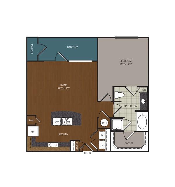 846 sq. ft. Radford floor plan