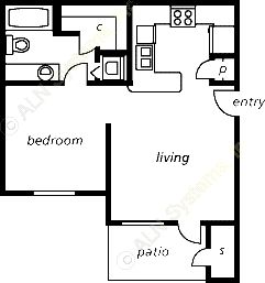 498 sq. ft. floor plan