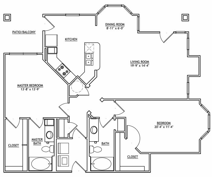 1,299 sq. ft. BB2G floor plan