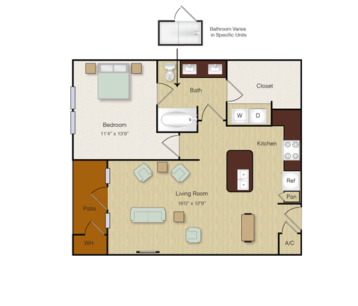 762 sq. ft. A9 floor plan