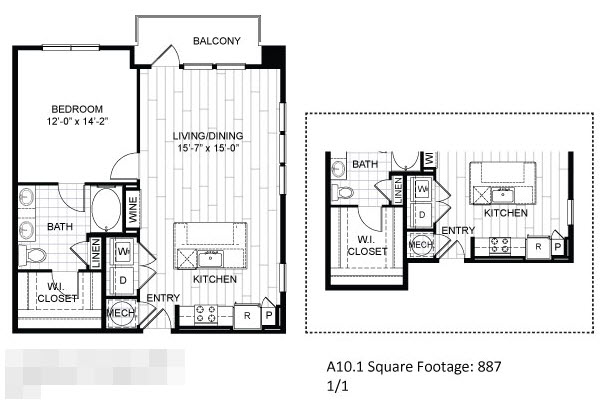 887 sq. ft. A10.1 floor plan