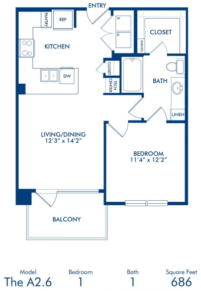 686 sq. ft. A2.6 floor plan