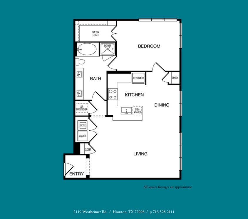 985 sq. ft. to 1,024 sq. ft. A9 floor plan