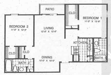 900 sq. ft. to 956 sq. ft. B2 floor plan