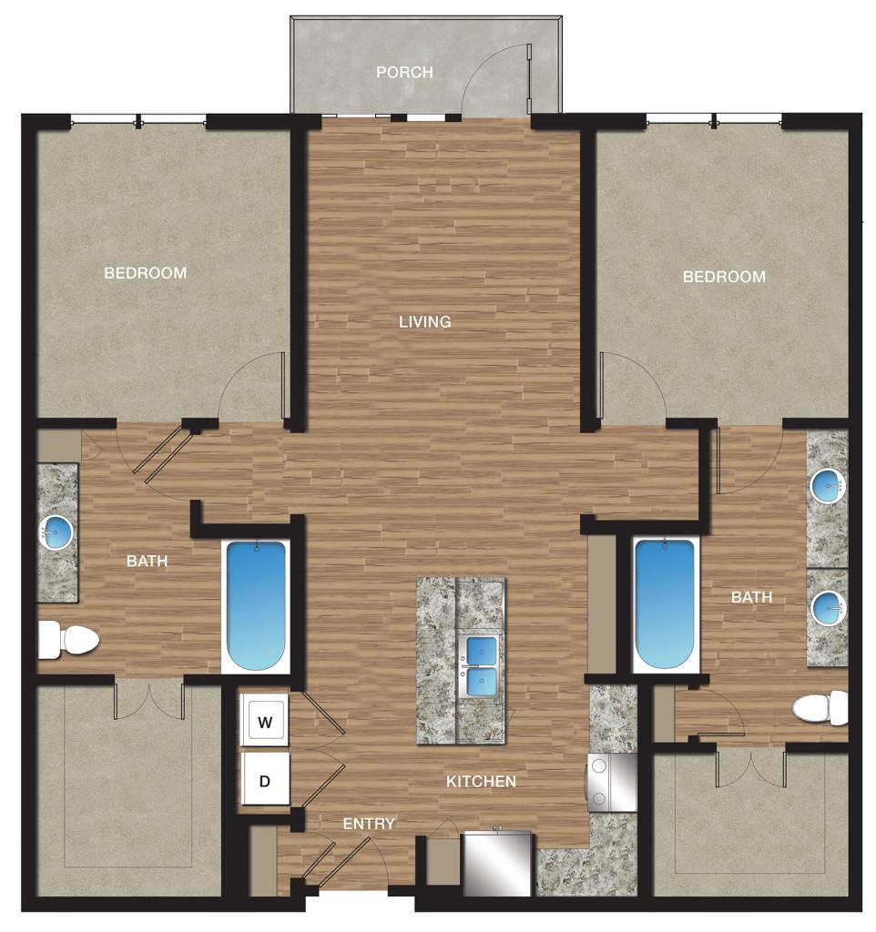 1,224 sq. ft. B6 floor plan