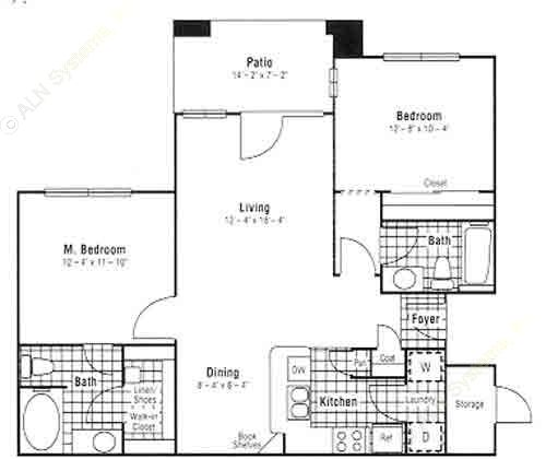 988 sq. ft. B3 floor plan