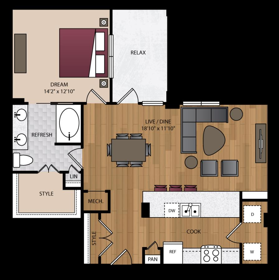 958 sq. ft. P-A10 floor plan