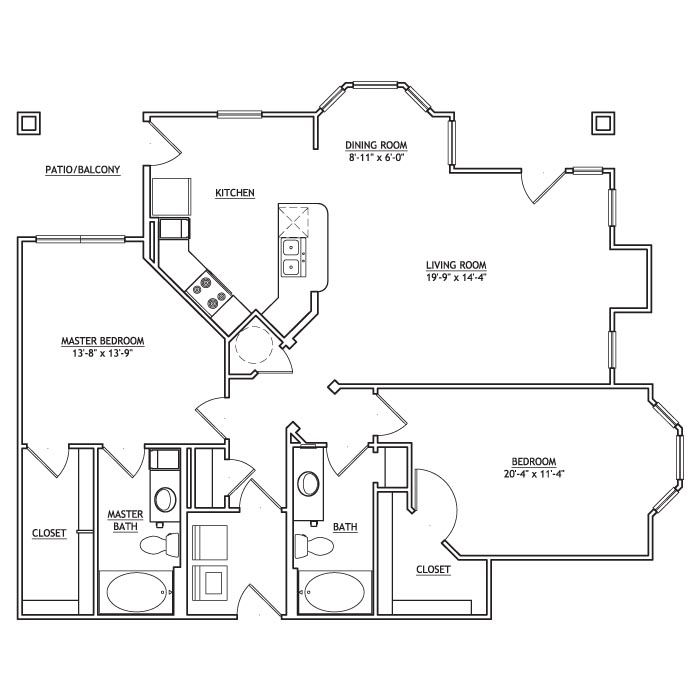 1,310 sq. ft. BB2G floor plan