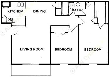 914 sq. ft. B-2 floor plan