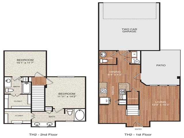 1,279 sq. ft. TH2 floor plan