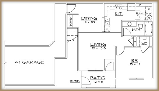 736 sq. ft. A1/60% floor plan