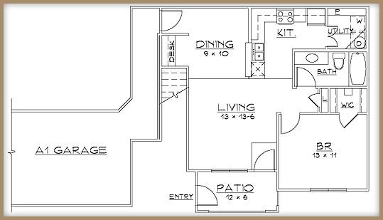 736 sq. ft. A1/60% floor plan