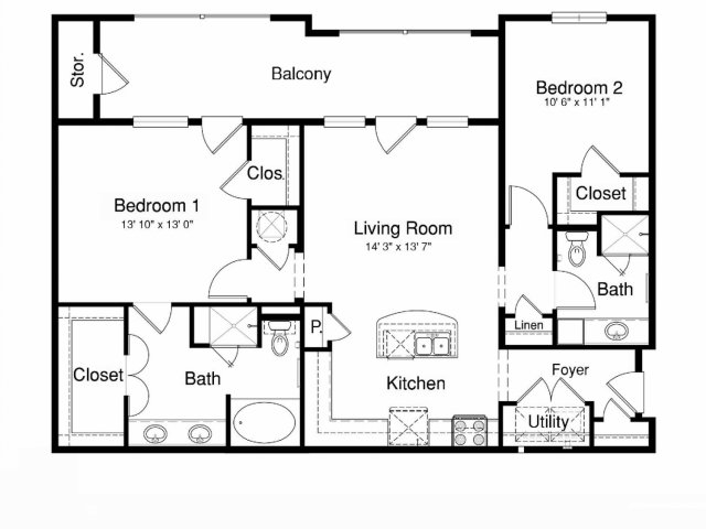 1,154 sq. ft. B2 floor plan