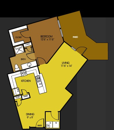907 sq. ft. A12 floor plan