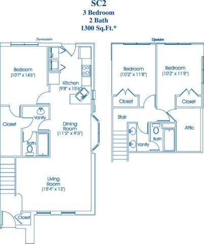1,300 sq. ft. SC2 floor plan