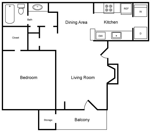 639 sq. ft. A2 floor plan