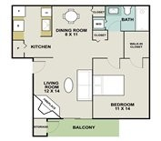 680 sq. ft. Lighthouse floor plan