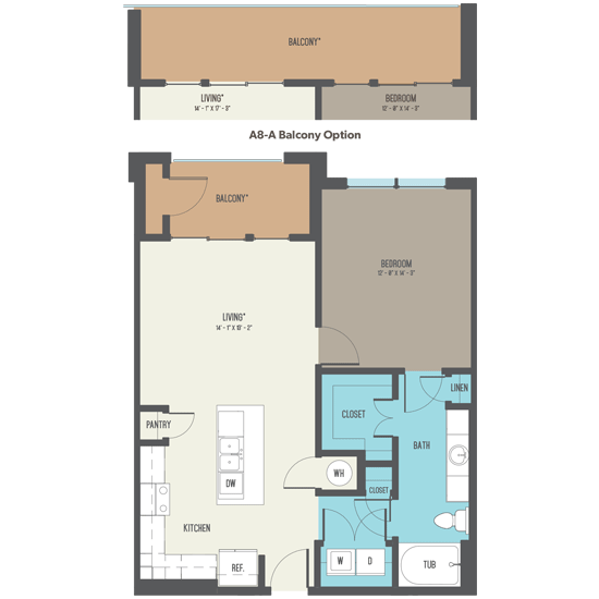 867 sq. ft. A8-A floor plan