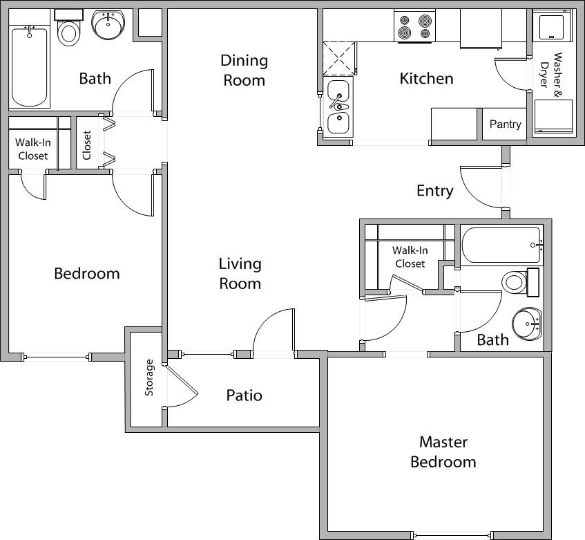 926 sq. ft. B 50% floor plan