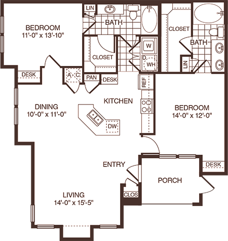 1,268 sq. ft. Tyler floor plan