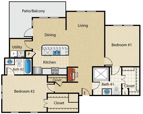 1,207 sq. ft. Sienna floor plan