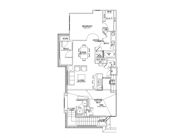 1,009 sq. ft. A2.1 floor plan