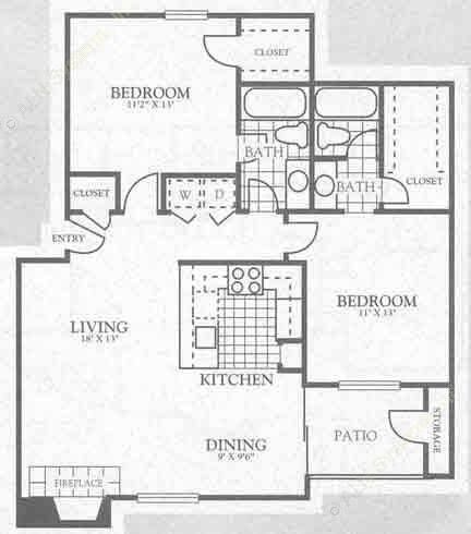 1,125 sq. ft. 2B2 floor plan