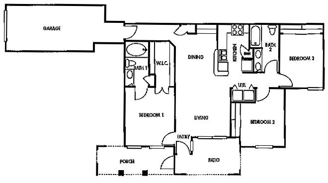 1,177 sq. ft. F1/60% floor plan