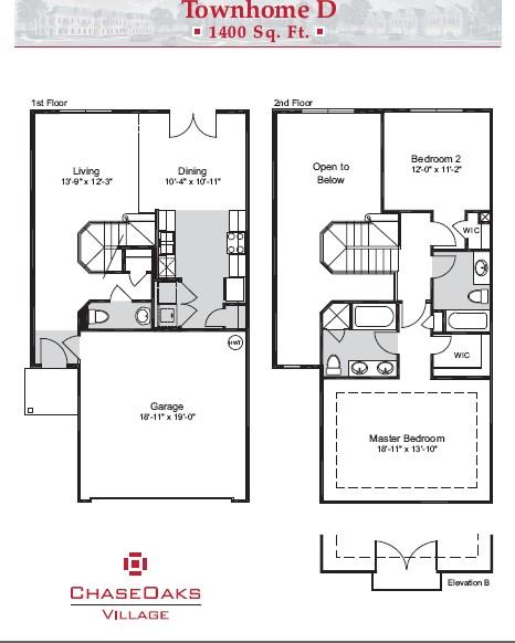 1,400 sq. ft. D floor plan