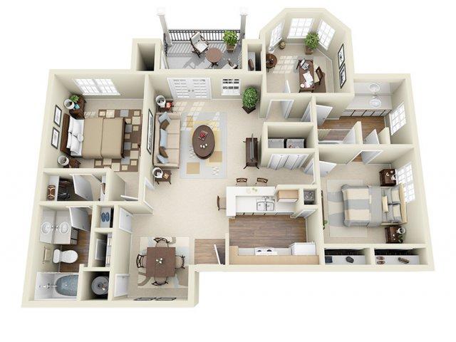 1,154 sq. ft. Windemere floor plan