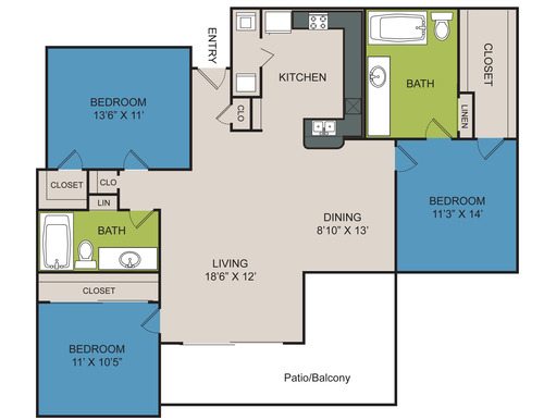 1,268 sq. ft. C1 floor plan