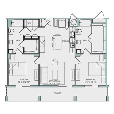 1,155 sq. ft. B1.1 floor plan