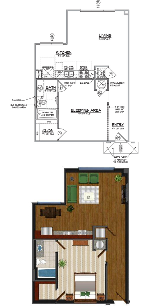 768 sq. ft. Ba floor plan