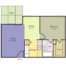 592 sq. ft. Larkspur floor plan