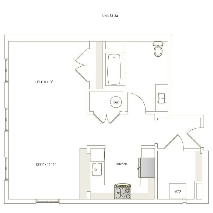 640 sq. ft. S3-3A floor plan