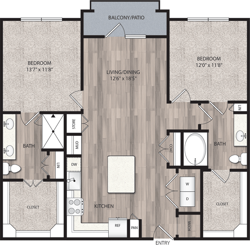 1,191 sq. ft. B2 floor plan