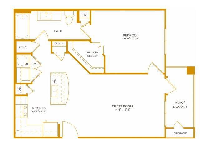 730 sq. ft. A4 floor plan
