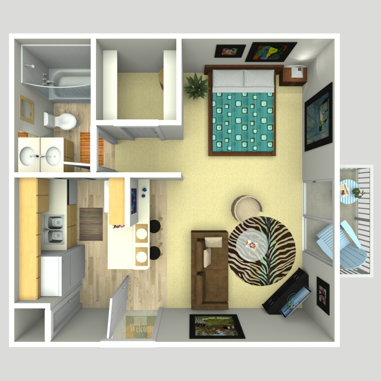 420 sq. ft. E floor plan