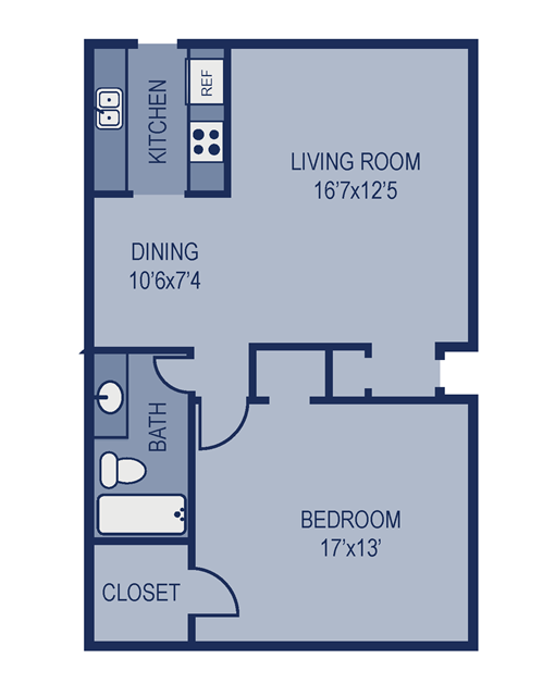 918 sq. ft. B1 floor plan