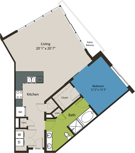 1,032 sq. ft. A4 floor plan