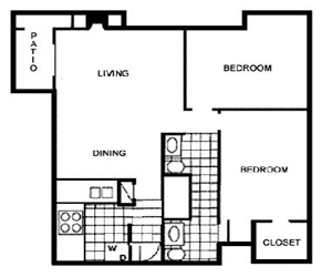 836 sq. ft. D floor plan